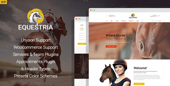 Wordpress Immobilien Template Equestria - Horse Club WordPress Theme