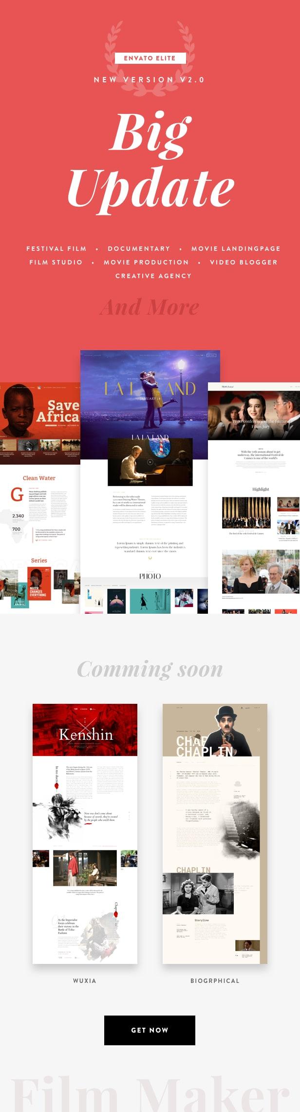 Wordpress Kreativ Template FilmMaker WordPress Theme: Film Studio - Movie Production - Video Blogger - Creative Agency