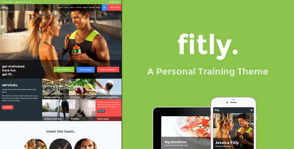 Wordpress Immobilien Template Fitly - A Personal Training WordPress Theme