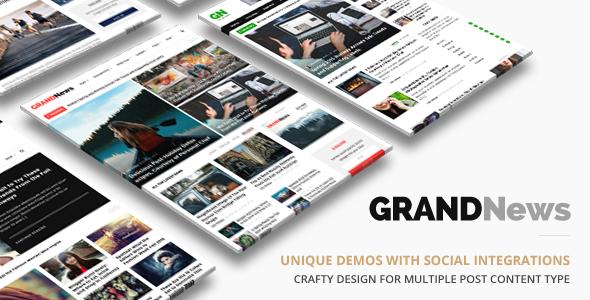 Wordpress Blog Template Grand News | Magazine Newspaper WordPress