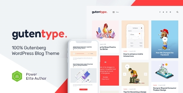Wordpress Blog Template Gutentype | 100% Gutenberg WordPress Theme for Modern Blog + RTL