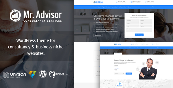Wordpress Corporate Template Mr Advisor - Finance and Consultancy WordPress Theme