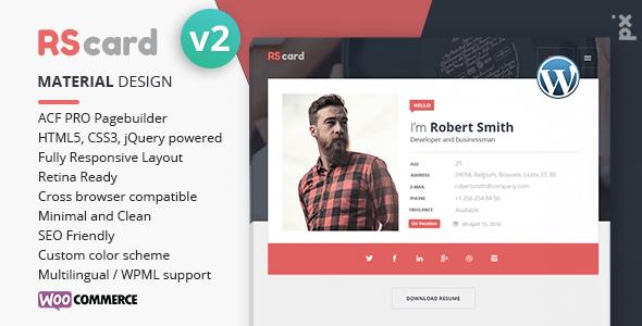 Wordpress Kreativ Template Resume, CV & vCard Theme