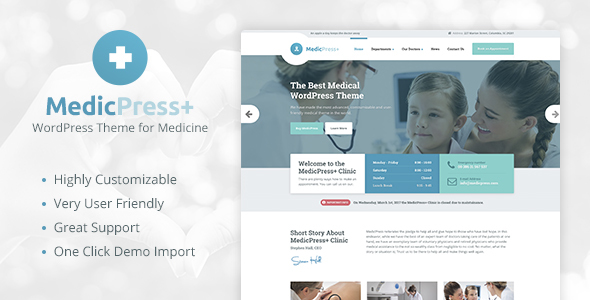 Wordpress Immobilien Template MedicPress - Medical WordPress Theme for Clinics and Private Doctors
