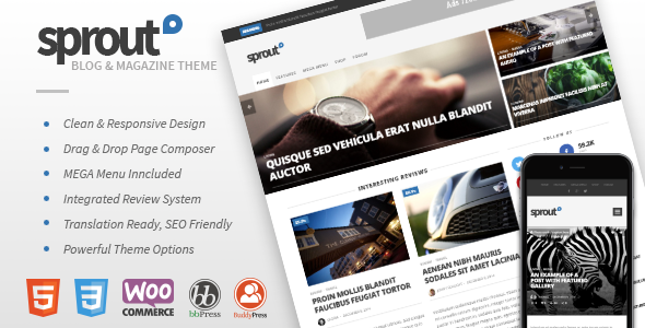 Wordpress Blog Template Sprout - Clean Blog/News/Magazine Responsive Theme