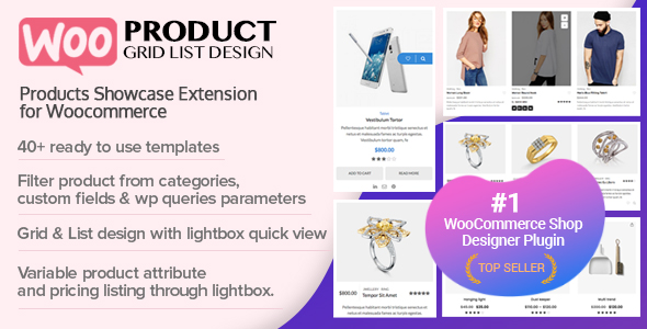 Wordpress E-Commerce Plugin WOO Product Grid/List Design- Responsive Products Showcase Extension for Woocommerce