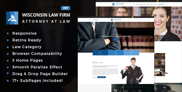 Wordpress Immobilien Template Wisconsin - Law Firm WordPress Theme