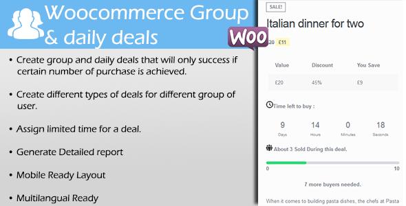 Wordpress E-Commerce Plugin WooCommerce Group & Daily Deals