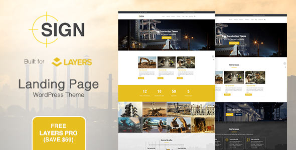 Wordpress Corporate Template Sign - Factory | Industrial | Construction Responsive Layers WordPress Theme