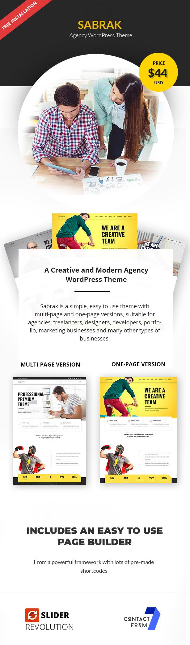 Sabrak - Agentur WordPress Theme - 1