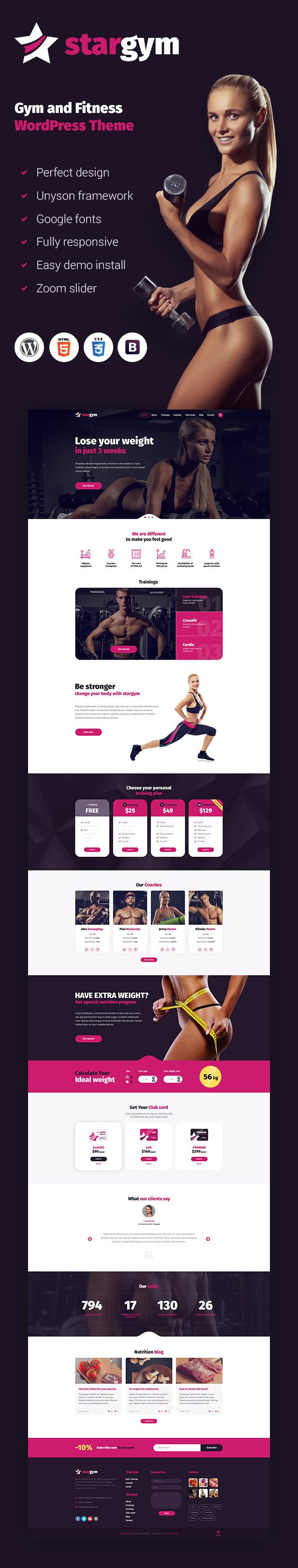 Stargym - Gym Trainer, Fitness Club und Gym WordPress Theme - 1