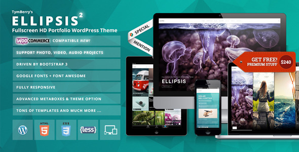Wordpress Kreativ Template Ellipsis - Fullscreen HD Portfolio WordPress Theme