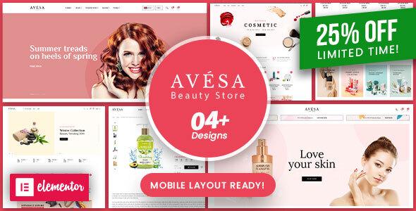 Wordpress Shop Template Avesa - Beauty & Cosmetics Store WooCommerce WordPress Theme