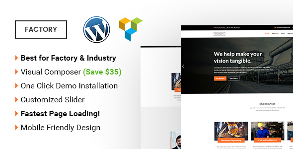 Wordpress Corporate Template Factory -  Industrial and Factory WordPress Theme