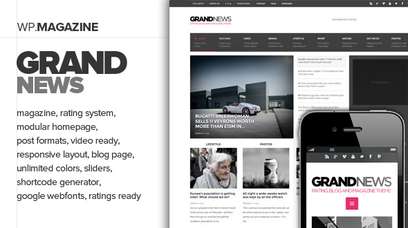 Wordpress Blog Template GrandNews - Responsive Rating Magazine Theme