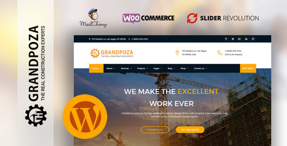 Wordpress Immobilien Template Grandpoza - Construction WordPress Theme