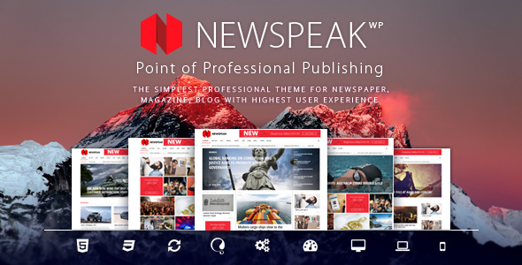 Wordpress Blog Template Newspeak - Responsive News / Magazine / Blog WordPress Theme + RTL
