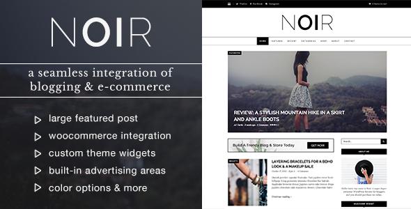Wordpress Blog Template Noir - Blog & Shop WordPress Theme
