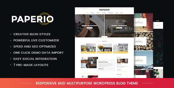 Wordpress Blog Template Paperio - Responsive and Multipurpose WordPress Blog Theme
