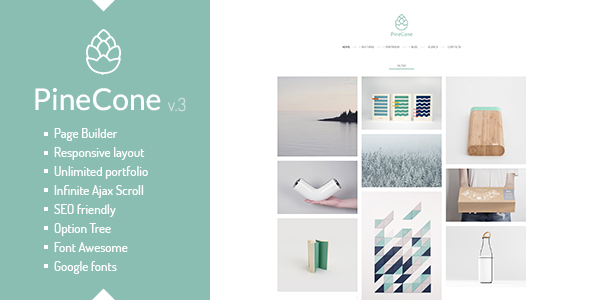 Wordpress Kreativ Template PineCone - Creative Portfolio and Blog for Agency