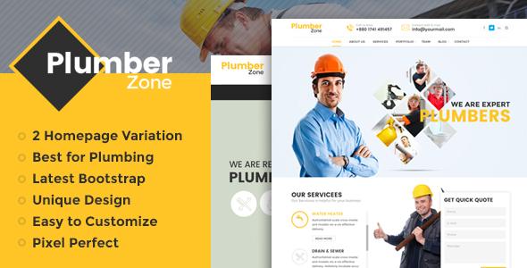 Plumber Zone - WordPress-Theme für Sanitär, Reparatur und Bau