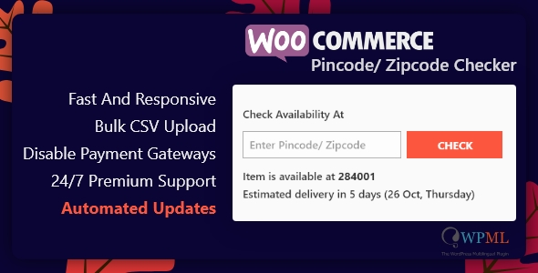 Wordpress E-Commerce Plugin WooCommerce Pincode/ Zipcode Checker