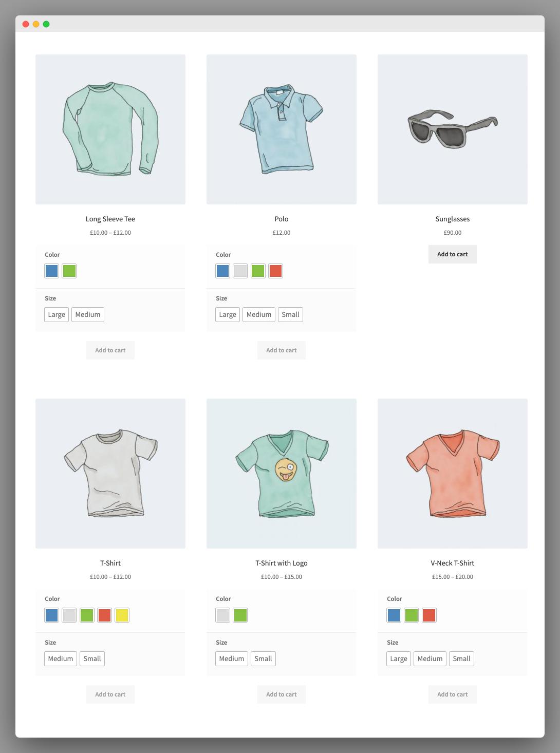 WooCommerce zeigt Variationen auf der Shop-Seite an