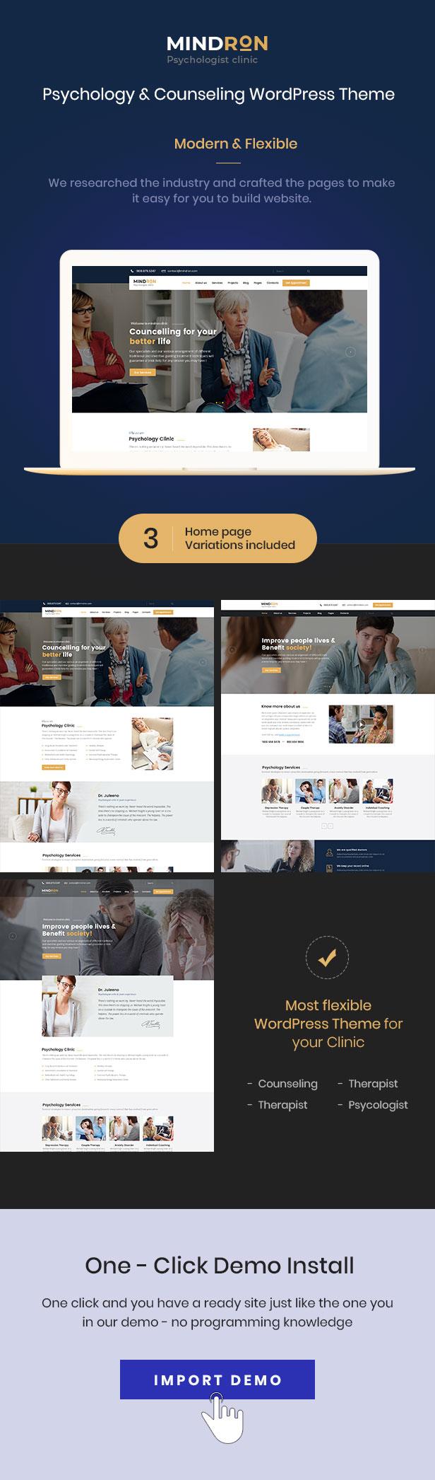 Mindron - Psychologie & Beratung WordPress Theme - 1