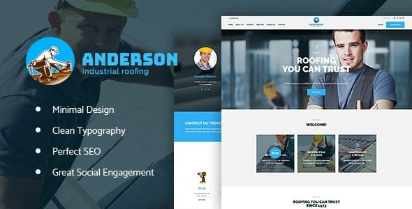 Wordpress Immobilien Template Anderson | Industrial Roofing Services Construction WordPress Theme