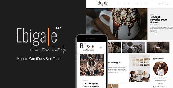 Wordpress Blog Template Ebigale -  Modern Gutenberg WordPress Blog Theme