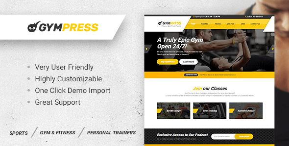 Wordpress Immobilien Template GymPress - WordPress theme for Fitness and Personal Trainers