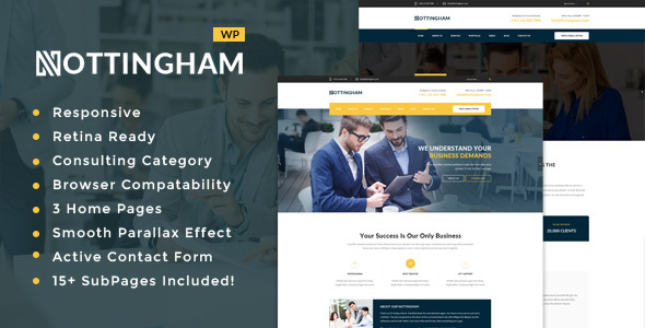 Wordpress Corporate Template Nottingham : Business, Finance and Consultancy WordPress Theme