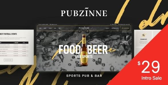 Wordpress Entertainment Template Pubzinne - Sports Bar WordPress Theme