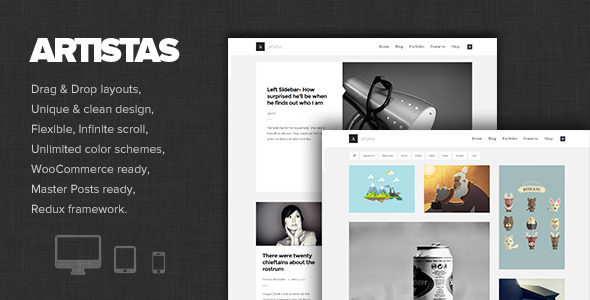 Wordpress Kreativ Template Artistas - Modern Portfolio & Blog Theme