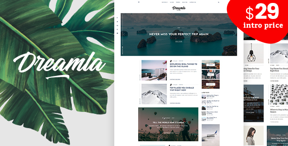 Wordpress Blog Template Dreamla - Clean WordPress Blog