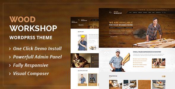 Wordpress Corporate Template Wood Workshop - Carpenter and Craftsman WordPress theme