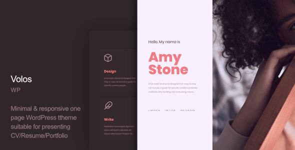 Wordpress Kreativ Template Volos - One Page Resume WordPress Theme