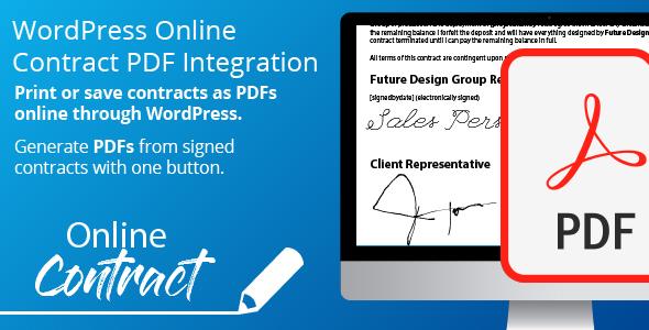 Wordpress Add-On Plugin WP Online Contract PDF Print Integration