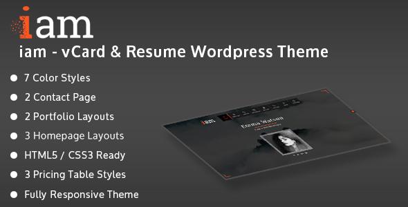 Wordpress Blog Template iam - Resume / Personal / Portfolio Responsive WordPress Theme
