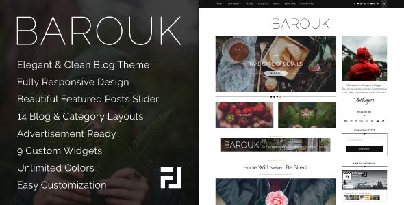 Wordpress Blog Template Barouk - An Elegant Responsive WordPress Blog Theme