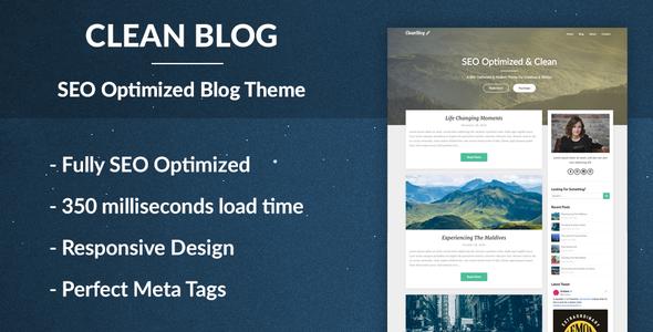 Wordpress Blog Template Clean Blog - SEO Optimized WordPress Theme