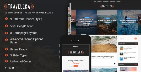 Wordpress Blog Template Travelera - WordPress Blog Theme