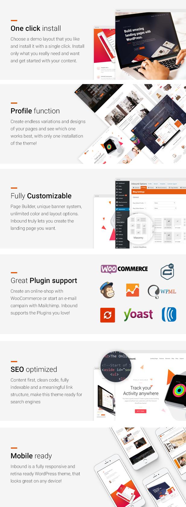 Eingehend - Das Landing Page WordPress-Theme