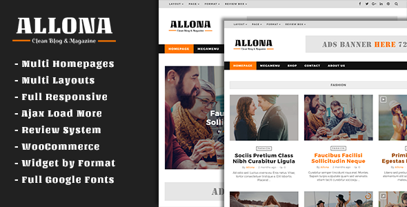 Wordpress Blog Template Allona - Clean & Beautiful Blog and Magazine Theme