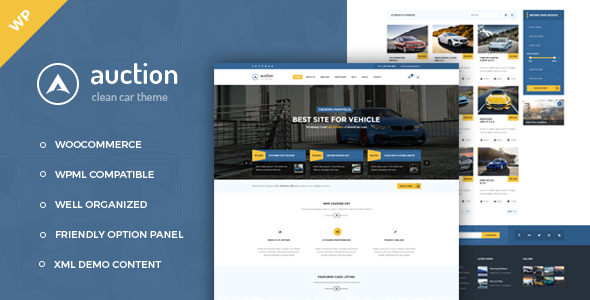 Wordpress Corporate Template Auction - Car Dealer WooCommerce WordPress Theme
