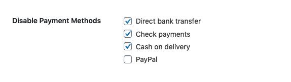 Deaktivieren Sie die Offline-Zahlungsmethoden, wenn auf der Checkout-Seite die Option Kontaktlos ausgewählt ist