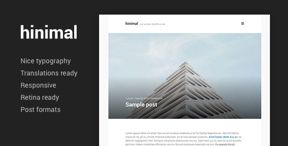 Wordpress Blog Template hinimal - Minimal Clean Blog Responsive WordPress Theme
