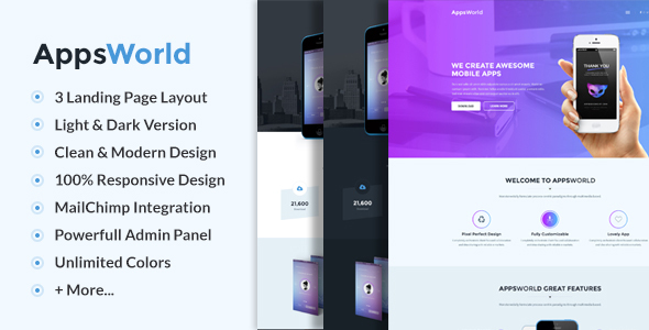 Wordpress Corporate Template AppsWorld - Responsive App Landing Page Theme