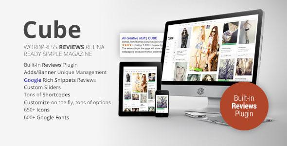 Wordpress Blog Template Cube, Multipurpose Simple Reviews WordPress Magazine
