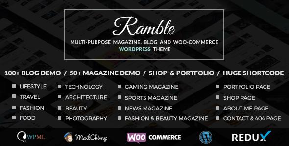 Wordpress Blog Template Ramble - Multi-purpose Blog, Magazine And Woo-Commerce WordPress Theme